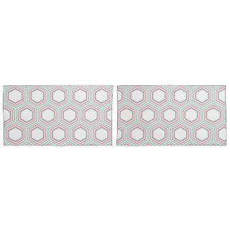 モダンなミントおよび珊瑚の幾何学的なパターン 枕カバー