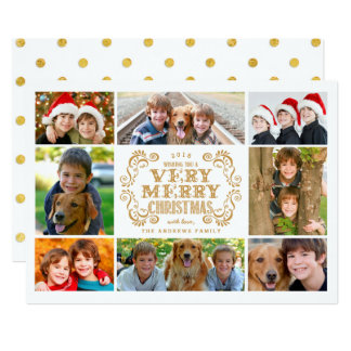 モダンなメリークリスマスのコラージュの休日の写真カード カード