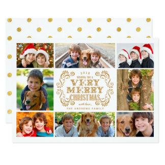モダンなメリークリスマスのコラージュの休日の写真カード 12.7 X 17.8 インビテーションカード