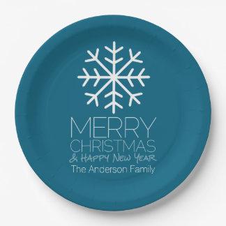 モダンなメリークリスマスの冬の雪片-青 ペーパープレート