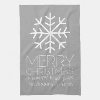 モダンなメリークリスマスの雪片-銀製灰色 キッチンタオル