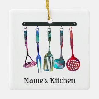 モダンなモザイク台所は正方形に用具を使います セラミックオーナメント