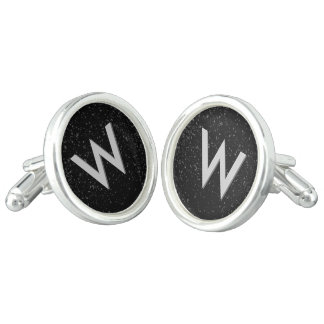 モダンなモノグラムのイニシャルの銀か黒いカフスボタン カフスボタン