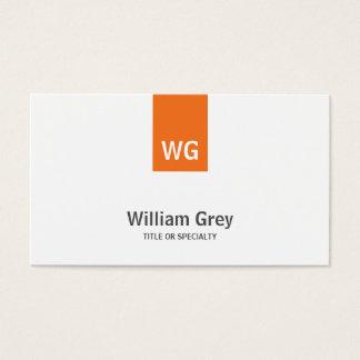 モダンなモノグラムの白いオレンジのお洒落なプロフィールカード 名刺