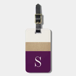 モダンなモノグラムの紫色の金ゴールドストライプのな|の荷物のラベル ラゲッジタグ