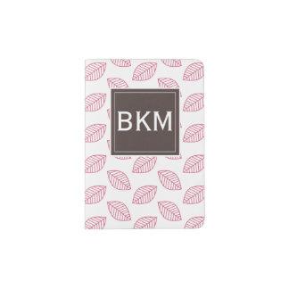 モダンなモノグラムの花の葉、ピンクのブラウン パスポートカバー