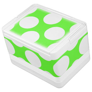 モダンなライムグリーンの白い水玉模様パターン IGLOOクーラーボックス