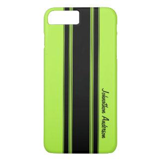 モダンなライムグリーンの競争は名前と縞で飾ります iPhone 8 PLUS/7 PLUSケース