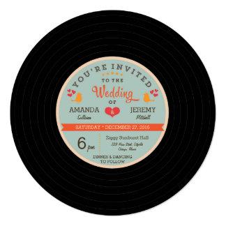 モダンなレトロのレコードのオレンジスカイブルーの結婚式 13.3 スクエアインビテーションカード