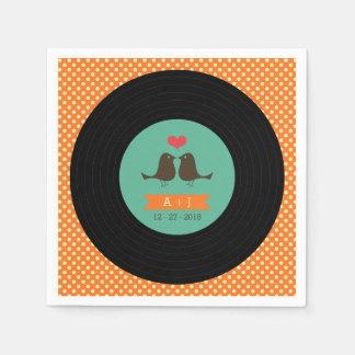 モダンなレトロのレコードの結婚式 スタンダードカクテルナプキン
