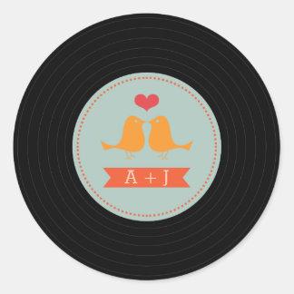 モダンなレトロのレコード愛鳥のスカイブルー ラウンドシール