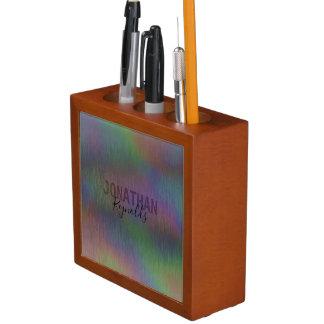 モダンなレーザー光線写真金属の名前-机のオルガナイザー ペンスタンド