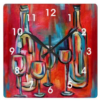 モダンなワイン・ボトルおよびガラスの絵を描くこと スクエア壁時計