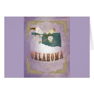 モダンなヴィンテージのオクラホマの州の地図の菓子のラベンダー カード