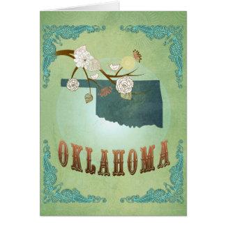モダンなヴィンテージのオクラホマの州の地図-セージグリーン カード