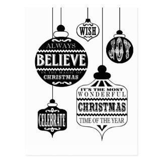 モダンなヴィンテージのクリスマスオーナメント ポストカード