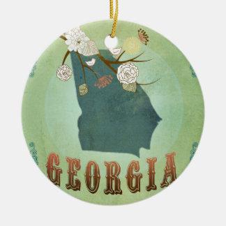 モダンなヴィンテージのジョージアの州の地図-セージグリーン セラミックオーナメント