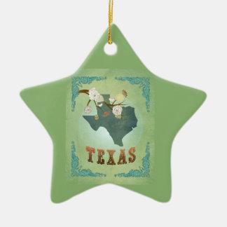 モダンなヴィンテージのテキサス州の州の地図-セージグリーン セラミックオーナメント