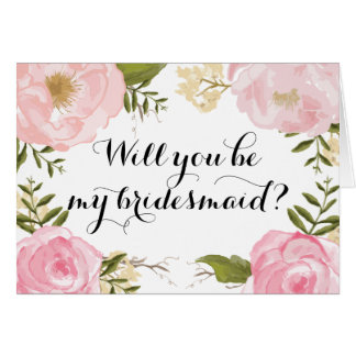 モダンなヴィンテージのピンクの花の新婦付添人の要求 グリーティングカード