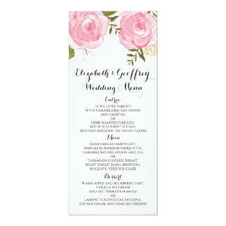 モダンなヴィンテージのピンクの花の結婚式メニュー カード