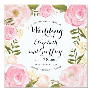 モダンなヴィンテージのピンクの花柄の保存日付 カード