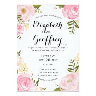 モダンなヴィンテージのピンクの花柄の結婚式招待状 カード