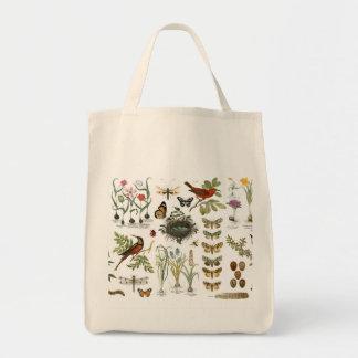 モダンなヴィンテージのフランスのな植物の鳥および花 トートバッグ