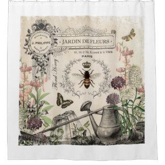 モダンなヴィンテージのフランスのな蜂の庭 シャワーカーテン