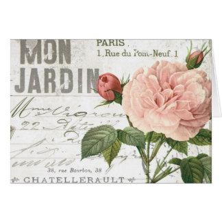 モダンなヴィンテージのフランス人のばら色の郵便はがき カード