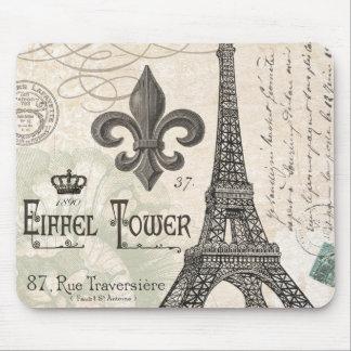 モダンなヴィンテージのフランス人のエッフェル塔 マウスパッド