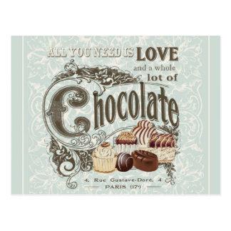 モダンなヴィンテージのフランス人チョコレート ポストカード