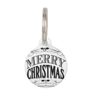 モダンなヴィンテージのメリークリスマス ペット ネームタグ