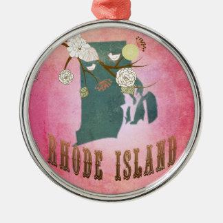モダンなヴィンテージのロードアイランドの州の地図キャンデーのピンク メタルオーナメント