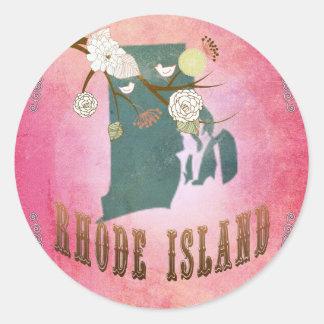 モダンなヴィンテージのロードアイランドの州の地図キャンデーのピンク ラウンドシール