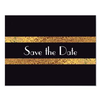 モダンなヴィンテージの保存日付のBlack&Goldの結婚式 カード