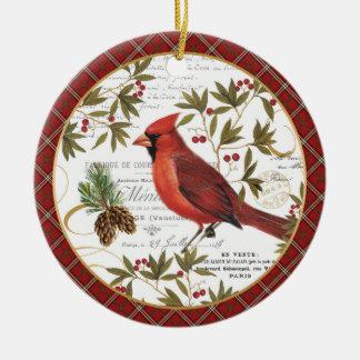 モダンなヴィンテージの冬の森林(鳥)ショウジョウコウカンチョウ セラミックオーナメント