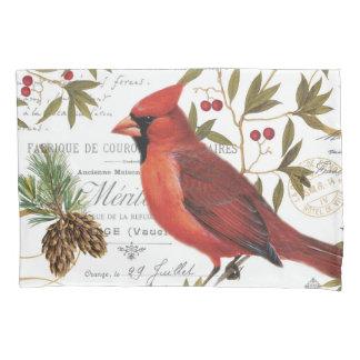 モダンなヴィンテージの冬の森林(鳥)ショウジョウコウカンチョウ 枕カバー
