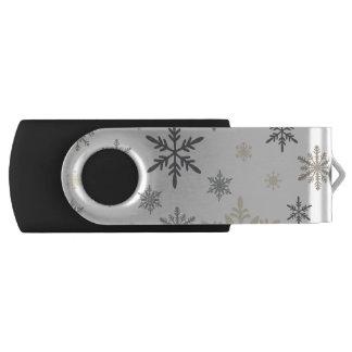 モダンなヴィンテージの冬の雪片 USBフラッシュドライブ