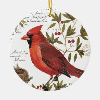 モダンなヴィンテージの冬の(鳥)ショウジョウコウカンチョウ セラミックオーナメント