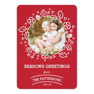 モダンなヴィンテージの季節の挨拶の写真カード|赤 12.7 X 17.8 インビテーションカード