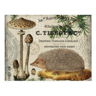 モダンなヴィンテージの森林ハリネズミ ポストカード