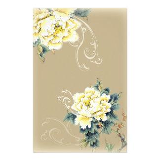 モダンなヴィンテージの花のシャクヤクの結婚式 便箋