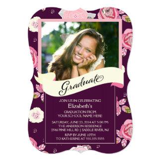 モダンなヴィンテージの花の卒業の招待状 カード