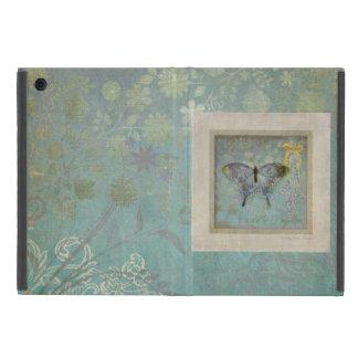 モダンなヴィンテージの蝶壁紙の花柄パターン iPad MINI ケース