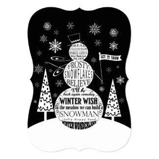 モダンなヴィンテージの黒板の雪だるまのタイポグラフィの芸術 カード