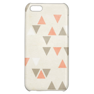 モダンな三角形の珊瑚及びベージュ灰色の抽象芸術の矢 iPhone 5C CASE