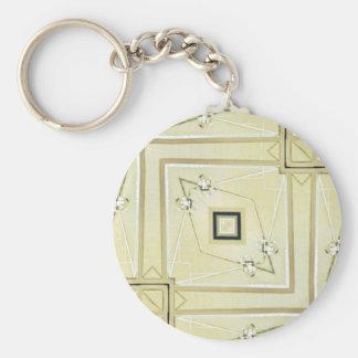 モダンな中立幾何学的な情報通のパターン キーホルダー
