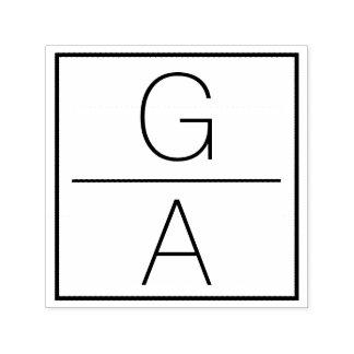 モダンな二重モノグラムの結婚式のロゴ セルフインキングスタンプ