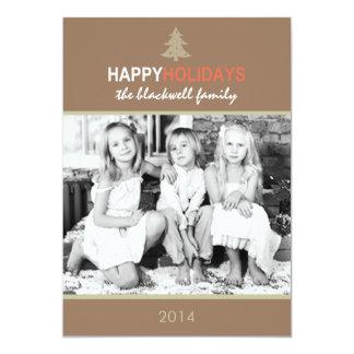 モダンな休日の木のココア休日の平らなカード カード