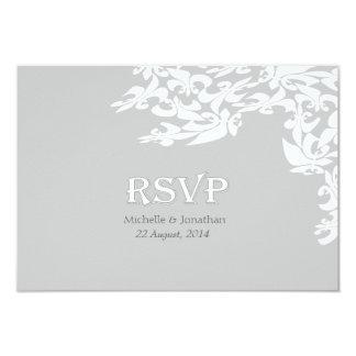 モダンな優雅の灰色の(紋章の)フラ・ダ・リRSVP 8.9 X 12.7 インビテーションカード